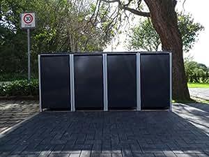 4–Cubo de basura Cajas sin troquelada Antracita Gris para 120litros de basura toneladas/Resistente a la intemperie con revestimiento de polvo/con Tapa y puerta delantera