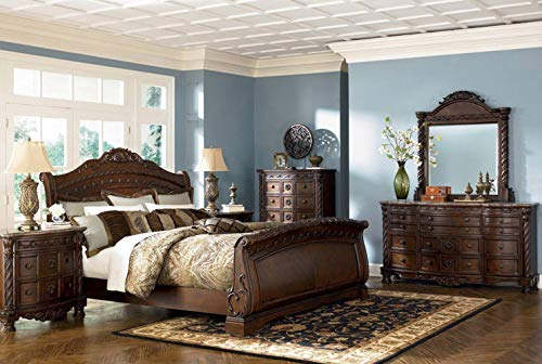 Ashley Furniture North Shore 5 Piece Sleigh Bedroom Set - Queen, King or California King ()