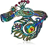 Betsey Johnson Critters Peacock Statement Hinge Bangle Bracelet, Multi, One Size