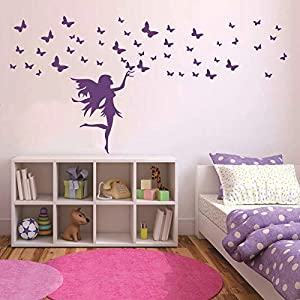 home decor girl room fairy butterflies stickers for wall elves butterfly decals for kids bedroom diy wall sticker am164 violet