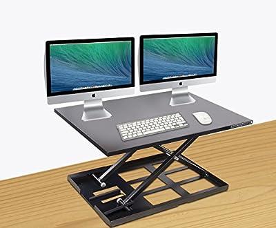 Standing Desk Converter-INNOVADESK 32-22 inches- Standing drafting table -Desktop converter to stand up - Laptop desk riser- The Best Adjustable Standing Desktop-Desktop adjustable standing desk.Black