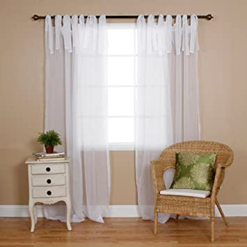Best Home Fashion Sheer Voile Curtains   Tie Top   White   56u0026quot;W X