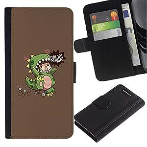 For Sony Xperia Z1 Compact D5503 Case , Children'S Dinosaur Monster Mother - la tarjeta de Crédito Slots PU Funda de cuero Monedero caso cubierta de piel