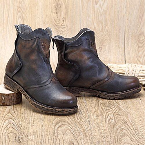 Socofy Damen Ankle Boots, Martin Stiefel Handmade Oxford Nubukleder Flache Combat Boots Kurzschaft Schnüren Freizeitschuhe(Hersteller-Größentabelle im Bild Beachten) Blau