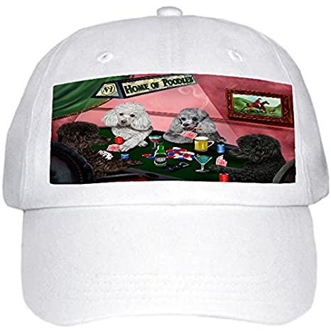6333038384a Amazon.com   Home of Poodles 4 Dogs Playing Poker Hat White   Sports ...