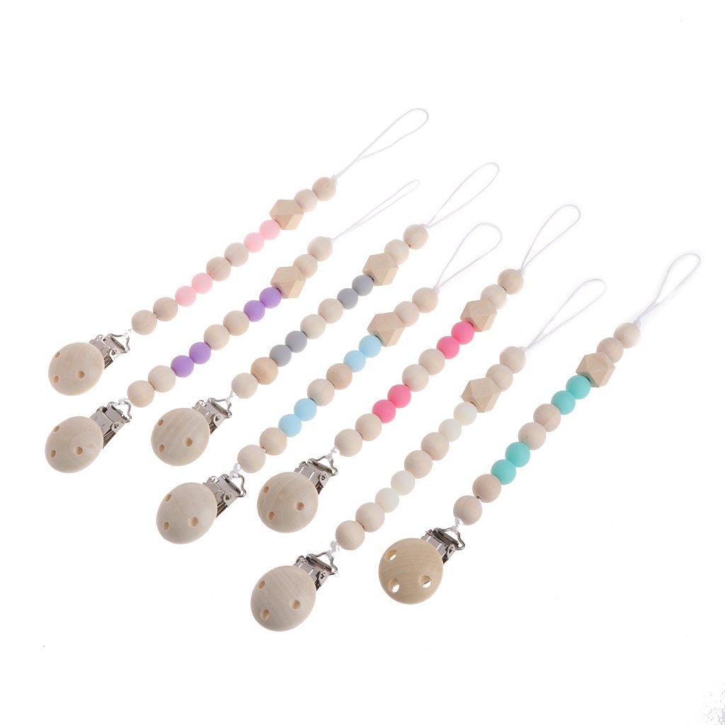 MIsha cadena chupetes Clip de madera chupete perlas de mordedor de madera natural(Azul)