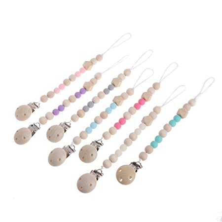 Amazon.com : CHBC Nipple Holder Beaded Wooden Baby Pacifier Clip ...