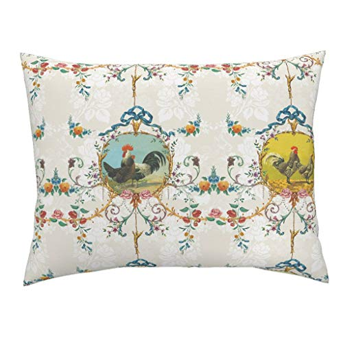 - Chicken Toile Standard Knife Edge Pillow Sham Chicken Farm Animal Floral Chickens Roosters Toile Vanilla Rococo French Country Flowers Farm by Lilyoake 100% Cotton Sateen