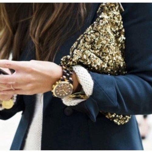 Lusso scintillante di paillettes nozze serata frizione borsa a mano Gold