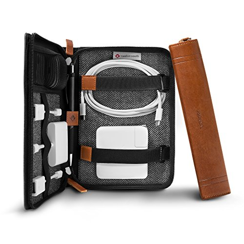 Twelve South Journal CaddySack | Luxury Leather Travel Tote for Chargers, Cables & adapters ()