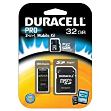 Duracell 32GB MicroSD Class 10 with USB and SD Adapters
