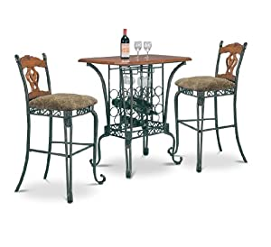 Amazon Com 3 Piece Bar Table Set With Wine Rack Base