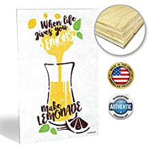 "ZENDORI ART 'When Life Gives You Lemons' Inspirational Quotes Plaque - Motivational Wall Art Sayings for Kitchen (Wood Art, 12""x18"")"