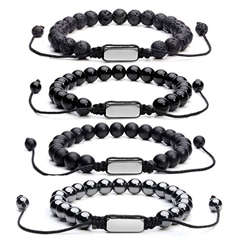 Jovivi Lava Stone Diffuser Aagte Hematite Tiger Eye Gemstone Beads Healing Chakra Bracelet w/Stainless Steel Bar Charms Macrame Adjustable -