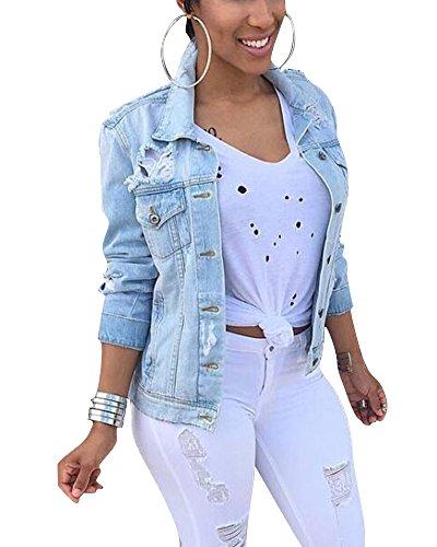 Femme Jacket Dchir Classique De Manches Longues Veste en Courte Jean Comme Image
