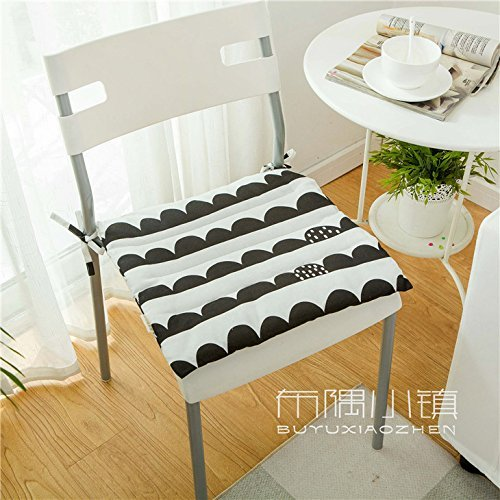 HOMEE the Office Student Automotive Arts Cotton, Linen/Cotton Cushions Dining Chairs with Thin Cushions Anti-Slip Tether Portable ,45X45Cm (Not Tether), 2,005 Small Squares Thin),Black Button,45X45cm by HOMEE