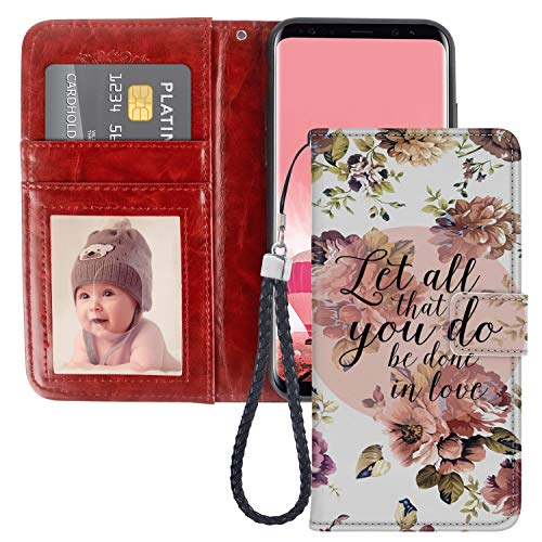 Bible Verse Quote Floral Samsung Galaxy S8 Plus Wallet Phone Case, JQLOVE PU Leather Flip Magnetic Clasp Multi Card Slot with Stand Holder Cover Wallet Case for Samsung Galaxy S8 ()