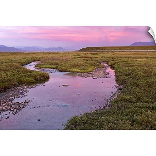 "CANVAS ON DEMAND Wall Peel Wall Art Print Entitled Sunset Light Reflecting in Sagavanirktok River with Trans Alaska Pipeline 18""x12"""