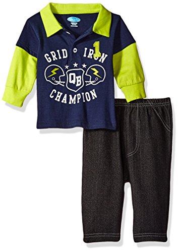BON BEBE Baby Boys' 2 Piece Longsleeve Collared Shirt with Denim Pant, Grid Iron Navy, 18 Months