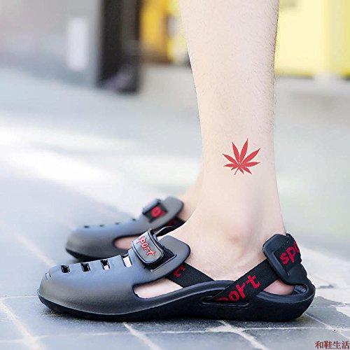 Xing Lin Flip Flop De La Playa Deportes Nuevos Hombres De La Segunda Generación De Calzado De Playa El Agujero Zapatos Zapatos De Hombre Summer Light Antideslizante Zapatillas Sandalias De Gran Tamaño black