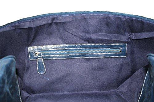 week-end grande mucca blu smalto nascondere vera pelle forte palestra , da viaggio, borsa borsone