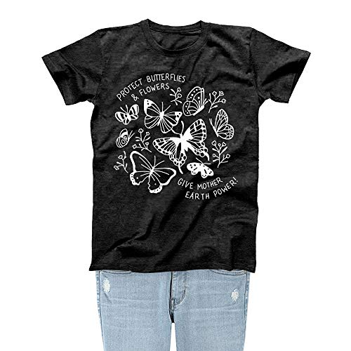 Rocksir Girl TOP TEES Women Protect Butterflies & Flowers Save The Bees Theme Lovely Summer T-Shirt(M bees4 Black)