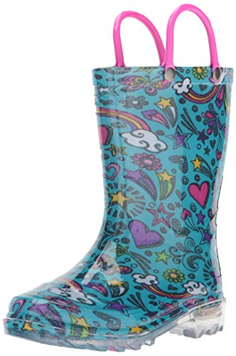Western Chief Girls' Waterproof Rain Boots That Light up with Each Step, Sketchbook 9 M US -