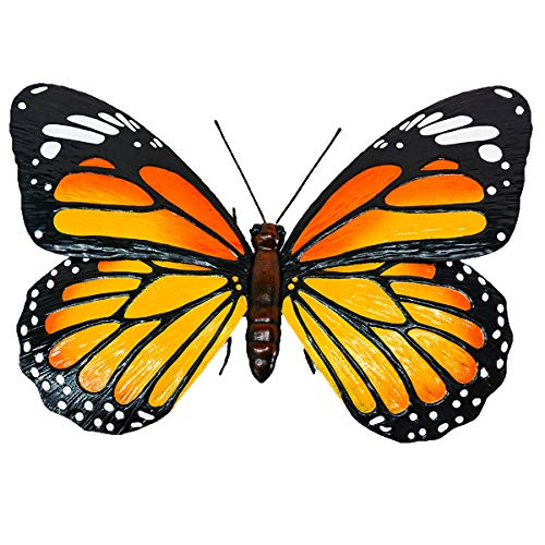 Majestic Metal Monarch Butterfly Sculpture Garden Decor on 2 Stabilizing Stakes - Outdoor Flower Put and Garden Bed Decoration - Die Cut Butterfly Perfectly Complements Herb Gardens & Flowers