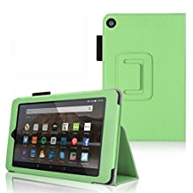 """Amazon Fire 7 Tablet (2015 Sep Release) Folio Case - onWay - Slim Fit Premium Leather Cover for All-New Fire 7"""" Display 5th Generation (Fire 7 (2015) - Folio, Green)"""