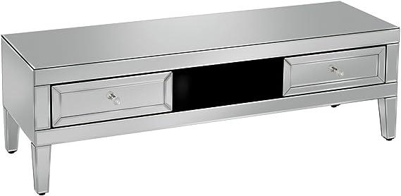 Birlea Valencia - Mueble de TV con espejo (cristal biselado), diseño moderno: Amazon.es: Hogar