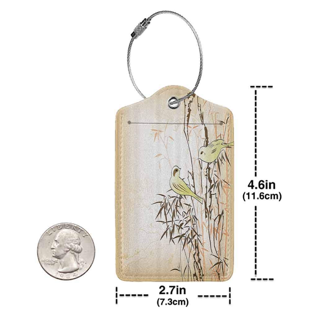 Multicolor luggage tag Bamboo House Decor Collection Bamboo Leaf and Birds on the Branch Pine Grass Family Artistic Illustration Hanging on the suitcase Yellow Brown Cream W2.7 x L4.6