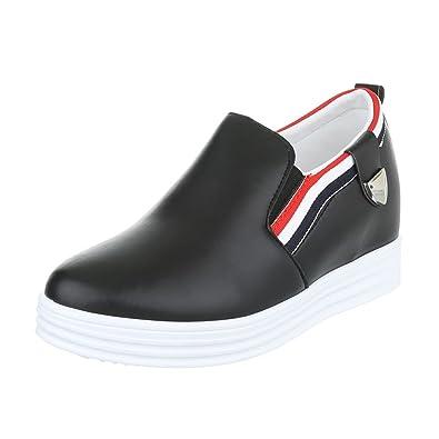 Easemax Damen Rund Toe Dicke Sohle Plateau Keilabsatz Loafer Slipper Schuhe Rot 40 EU i1YJ1ZR
