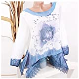 Clearance Sale Fashion T Shirts for Women - vermers Women Plus Size Lace Print Long Sleeve Blouse Pullover Tops(3XL, Blue)