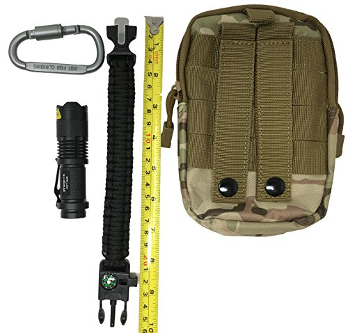 Coware Tactical Molle Gadget Edc Utility Pocket Pouch Organizer 4 Piece Set Includes Pouch  Carabiner  Flashlight    Paracord Survival Bracelet