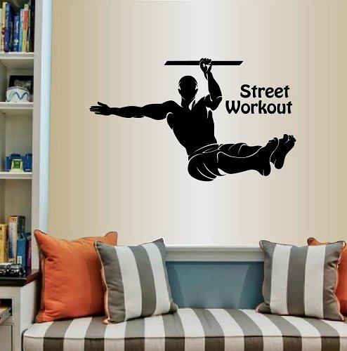 (Wall Vinyl Decal Home Decor Art Sticker Silhouette Street Workout Words Sign Exercise Strong Muscular Man Sportsman Training Fitness Room Removable Stylish Mural Unique Design For Any Room Creative Design Logo House)
