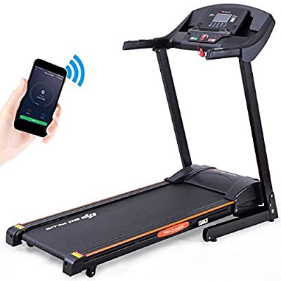 Goplus Folding Treadmill Electric Incline 2.5HP Jogging Running Fitness Machine w/App Control, Large Blue Light Display Black Jaguar ?(Black)