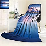 YOYI-HOME Luminous Microfiber Throw Duplex Printed Blanket Wooden Pier Tops Remain in Lake with Sunset Mirror Image Out Different Perspectives Royal Blue Blanket, Soft and Durable Polyester/W59 x H79