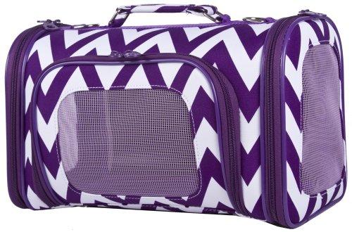 Ever Moda Purple Chevron Print Soft-Sided Pet Carrier 16-inch