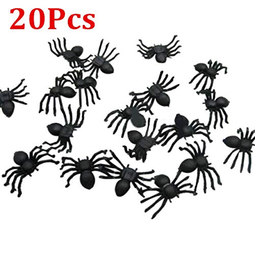 Hot Sale!DEESEE(TM)20/50/100/200PC Halloween Mini Plastic Black Luminous Spider Prank Joking Birthday Toys DIY Decorative Spiders 2cm Spider Party Props -