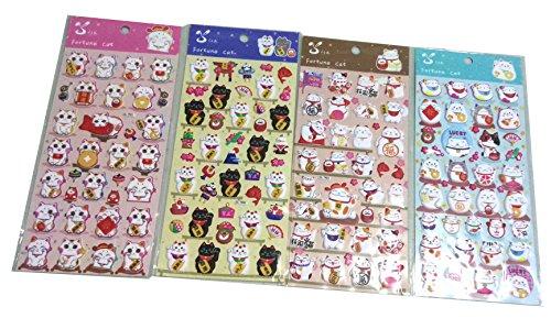 SET074-LUCKYCAT-4-Different-Sheets-Cute-Maneki-neko-Japan-Japanese-Lucky-Fortune-Cat-Reusable-Puffy-Sticker