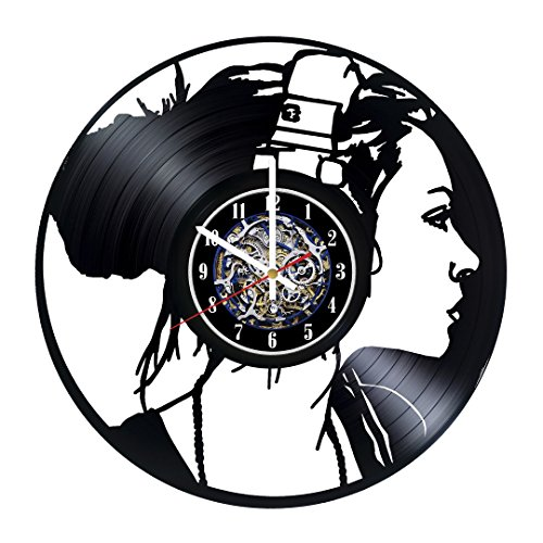 Girl Music Design Wall Clock Made From Used Vinyl Record - Get unique bedroom or rest room wall decor - Gift ideas for boys and girls ? Unique Music Fan Art