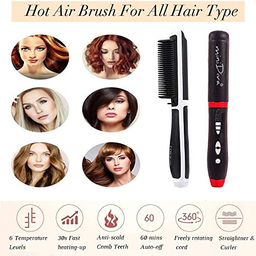 Hair Straightener and Curler 2-in-1 with Anti-Scald Technology, Fast Heating (30s), 6 Heat Levels for Every Hair Type, Auto Off, 360 Swivel Cord, Portable Straightening Iron or Curling Iron (Red)