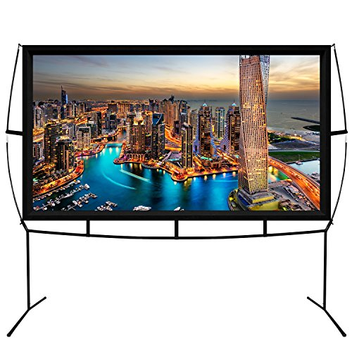 Jumbo 100 Inch 16:9 Portable Outdoor and Indoor Theater Projector Screen with Stand Legs by KHOMO GEAR