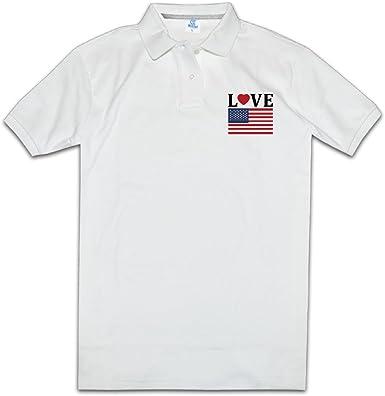 Camisa de amor bandera de Estados Unidos orgullosos de América de cuello de polo para hombre: Amazon.es: Ropa y accesorios