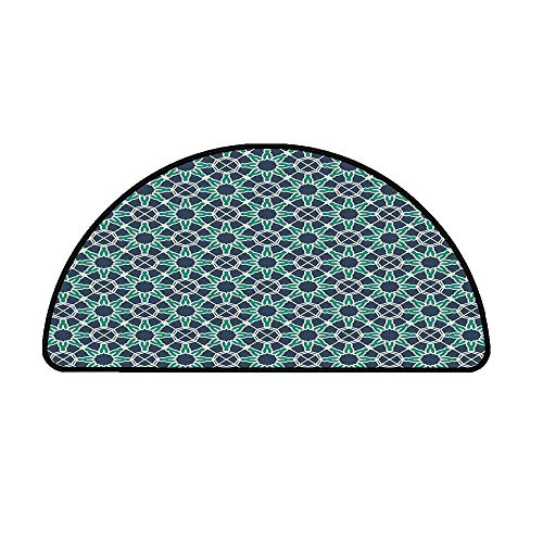 (Geometric Comfortable Semicircle Mat,Star Shapes Arabic and Ottoman Ornamental Design Traditional Decorative for Living Room,39.3