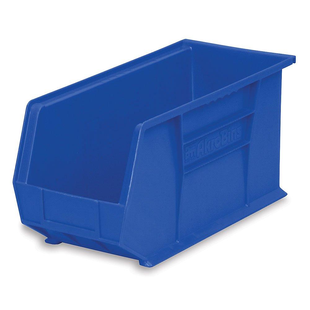 """Akro-Mils 30265 AkroBin Plastic Stacking Bin - 8-1/4""""W x 18"""" D x 9"""" H, Blue - Lot of 6"""