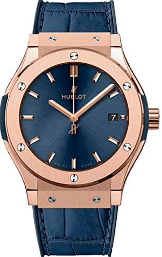 Hublot Classic Fusion Quartz Gold 33mm Ladies Blue Dial Watch 581.OX.7180.LR