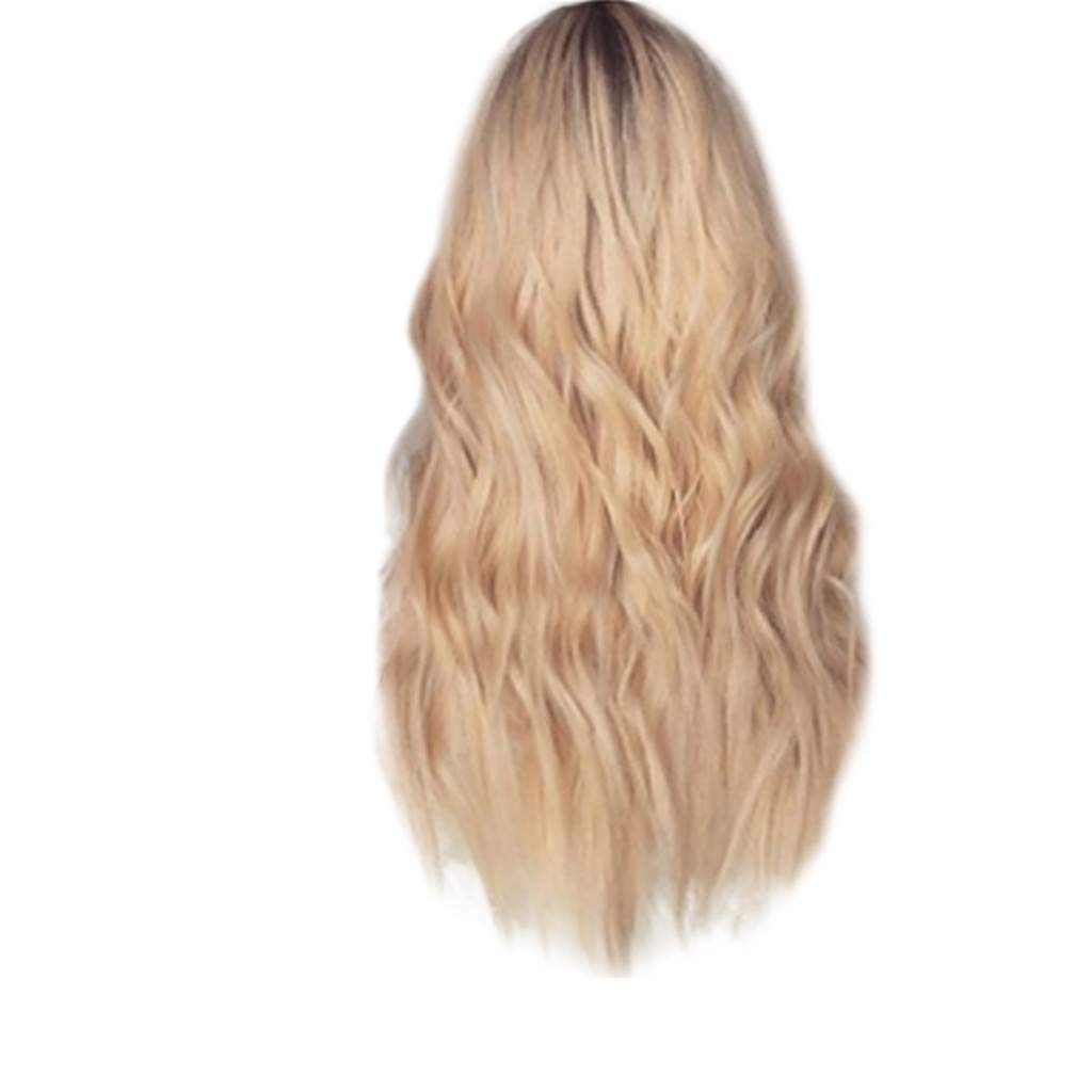 Inkach Blonde Long Wavy Wig for Black Women Lace Front Full Curly Wigs Heat Resistant Synthetic Fiber Hair Female Costume Party Wig (24 inch Lace Wig)