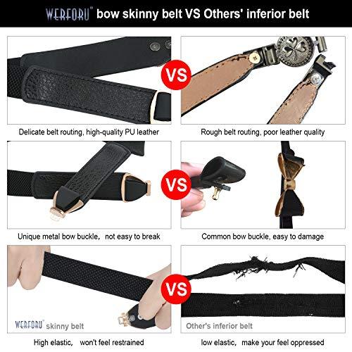 Damen Dünner Taillengürtel Elastischer Bogengürtel 3 Stücke Dehnbar Elastische Gürtel mit Metall Schnalle für Kleid Röcke Jeans (Schwarz & Weiß & Braun)