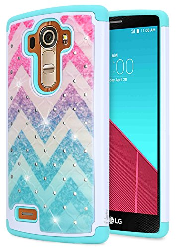 Wave Silicone (LG G4 Case, LG G4 Diamond Case, NageBee [Hybrid Protective] Armor Soft Silicone Cover with [Studded Rhinestone Bling] Design Diamond Cute Case For LG G4 (Wave))
